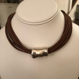 Silpada Brown Leather and Silver Choker Necklace